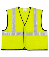 MCR Safety Crews Luminator Class 2 Polyester Safety Vest, Fluorescent Lime with Silver Stripe, Large