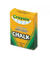 """Crayola Anti-Dust 3-3/16"""" Chalk, White, 12-Sticks"""