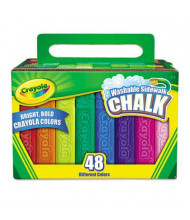 "Crayola Washable 4"" Sidewalk Chalk, Assorted, 48-Sticks"