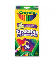 Crayola Erasable 3.3 mm Assorted Colors Woodcase Pencils, 24-Pack