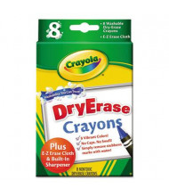 Crayola Washable Dry Erase Crayons with E-Z Erase Cloth, 8-Colors