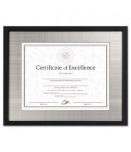 """DAX Contemporary Wood Document Frame, 11"""" W x 14"""" H, Silver Metal Mat and Black Border"""