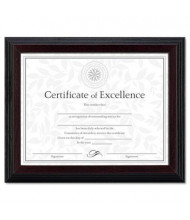 "DAX Solid Wood Certificate Frame, 8.5"" W x 11"" H Stepped Walnut Trim, Black"