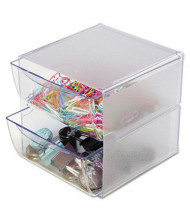 Deflect-o Two Drawer Desk Cube, Clear Plastic