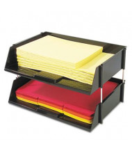 """Deflect-o 3-1/2"""" H Two-Tier Industrial Stacking Tray Set, Black"""