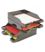 "Deflect-o 2-1/2"" H Two-Tier Docutray Multi-Directional Stacking Desk Tray Set, Black"