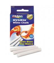 """Prang Hygieia Dustless 3-1/4"""" Board Chalk, White, 12-Sticks"""