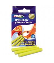 """Prang Hygieia Dustless 3-1/4"""" Board Chalk, Yellow, 12-Sticks"""