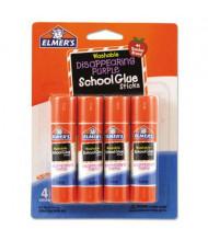 Elmer's .24 oz Washable School Glue Sticks, Purple Application, 4/Pack