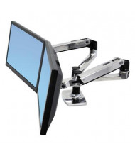 """Ergotron LX 20.9"""" H Dual Side-by-Side Arm Desk Mount for Monitors up to 24"""", Aluminum/Black"""
