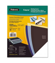 "Fellowes Futura 7.5 Mil 8.5"" x 11"" Square Corner Black Binding Cover, 25/Pack"