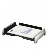 "Fellowes 2-1/2"" H Plastic Side-Load Desk Letter Tray, Black/Silver"