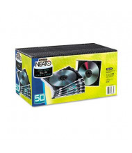 Fellowes 50-Pack Thin Jewel Case, Clear/Black