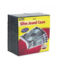 Fellowes 100-Pack Thin Jewel Case, Clear/Black