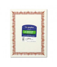 """Geographics 8-1/2"""" x 11"""", 24lb, 25-Sheets, Unique Red Border Gold Seal Award Certificates"""