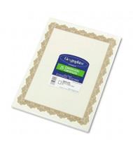 "Geographics 8-1/2"" x 11"", 24lb, 25-Sheets, Optima Gold Border Parchment Paper Certificates"