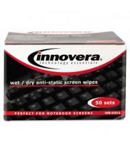 Innovera Anti-Static Wet & Dry Screen Wipes Box, 50 Wipes