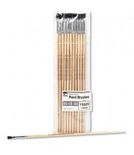 Charles Leonard Size 4 Flat Natural Bristle Long Handle Easel Brush, 12/Pack