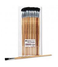 Charles Leonard Size 12 Flat Natural Bristle Long Handle Easel Brush, 12/Pack