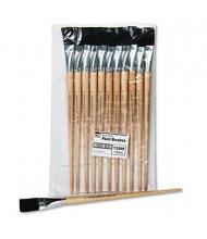 Charles Leonard Size 22 Flat Natural Bristle Long Handle Easel Brush, 12/Pack