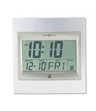 """Howard Miller 9.3"""" H Radio-Controlled LCD Wall or Table Alarm Clock, Silver"""