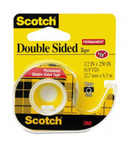 """Scotch 1/2"""" x 6.9 yds Double-Sided Permanent Tape with Dispenser, Clear, 1"""" Core"""