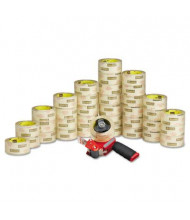 """Scotch Commercial Grade Packaging Tape with Pistol Grip Dispenser, Clear, 36/Carton, 3"""" Core"""