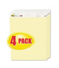 """Post-it Self-Stick 25"""" x 30-1/2"""", 30-Sheet, 4-Pack, Yellow, Ruled Easel Pads"""