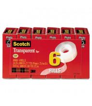 "Scotch 3/4"" x 27.8 yds Photo Safe Transparent Tape, 1"" Core, Clear, 6-Pack"