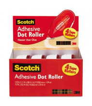 """Scotch .3"""" x 588"""" Adhesive Dot Roller Value Pack, 4/Pack"""