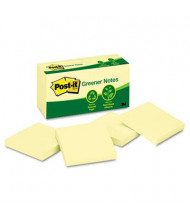 """Post-It 3"""" X 3"""", 12 100-Sheet Pads, Canary Yellow Greener Notes"""