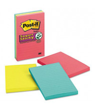 "Post-It 4"" X 6"", 3 90-Sheet Pads, Lined Rio de Janeiro Super Sticky Notes"