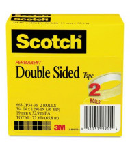 "Scotch 3/4"" x 36 yds Clear Double-Sided Tape, 3"" Core, 2-Pack"