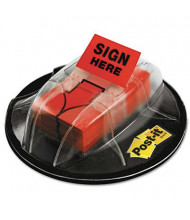 """Post-it 1"""" x 1-3/4"""" """"Sign Here"""" Flags in Dispenser, Red, 200 Flags/Dispenser"""