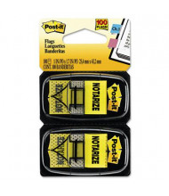 """Post-It 1"""" x 1-3/4"""" """"Notarize"""" Message Arrow Page Flags, Yellow, 100 Flags/Pack"""