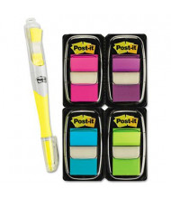 """Post-It 1"""" x 1-3/4"""" Flags Value Pack with Highlighter, Assorted, 250 Flags/Pack"""