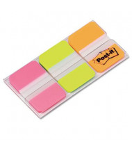 """Post-It 1"""" x 1-1/2"""" Durable File Tabs, Green/Orange/Pink, 66/Pack"""