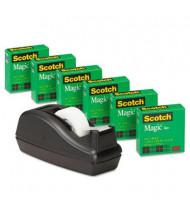 """Scotch Magic Tape 6-Pack with C-40 Dispenser, Black, 1"""" Core"""