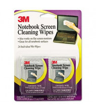 3M Notebook Screen Cleaning Individual Wet Wipes Pack, 24 Wipes