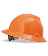 MSA V-Gard Fas-Trac Ratchet Suspension Hard Hat, Size 6-1/2 to 8, High-Viz Orange