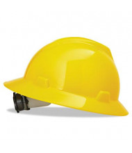 MSA V-Gard Fas-Trac Ratchet Suspension Hard Hat, Size 6-1/2 to 8, Yellow