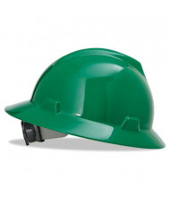 MSA V-Gard Fas-Trac Ratchet Suspension Hard Hat, Size 6-1/2 to 8, Green