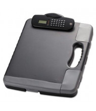 "Officemate 1"" Capacity 11-3/4 x 14-1/2"" Portable Storage Clipboard Case with Calculator, Charcoal"