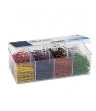 Officemate No. 2 Plastic Coated Paper Clips, Assorted Colors, 800/Pack