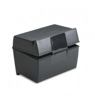 "Oxford Plastic Index Card Flip Top File Box Holds 300 3"" x 5"" Cards, Matte Black"