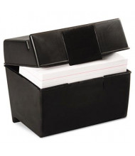 "Oxford Plastic Index Card Flip Top File Box Holds 400 4"" x 6"" Cards, Matte Black"