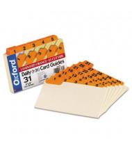 "Oxford 1/5 Tab 3"" x 5"" 31-Day Index Card Guides, Manila, 1 Set"