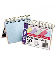 """Oxford 3"""" x 5"""", 50-Cards, Assorted Colors, Ruled Spiral Bound Index Cards"""