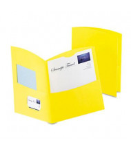 "Oxford 100-Sheet 8-1/2"" x 11"" Contour Two-Pocket Recycled Paper Folder, Yellow, 100/Box"