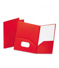 "Oxford 100-Sheet 8-1/2"" x 11"" Poly Two-Pocket Portfolio, Opaque Red"